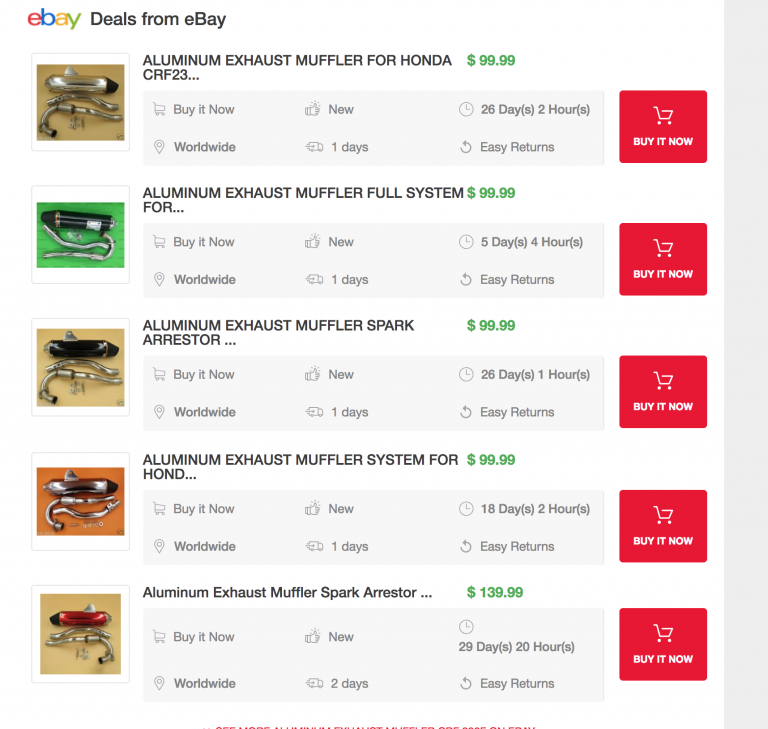 Upgrade to to Hawk 250 Shop to Include eBay Links and Price Compare