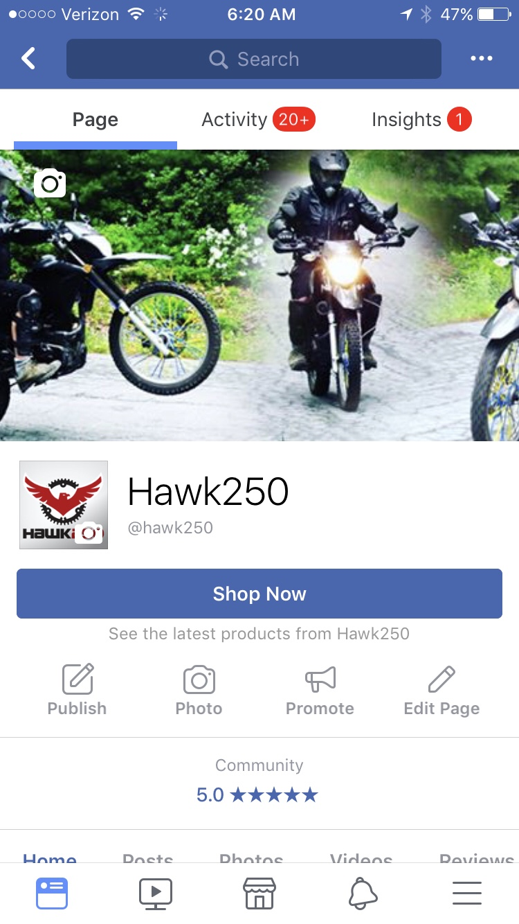 Join Hawk 250 on Facebook