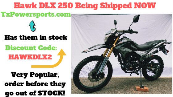 HAWK DLX 250CC DOT BIKE HAWK DELUXE MODEL FOR SALE BEING SHIPPED NOW